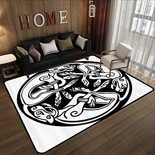 Bath Rugs for Bathroom Non Slip,Celtic Decor Collection,Three Dogs Biting Their Tails Animal Forms Vikings Heritage Celtic Knots Form Medallion,Black Wh 55