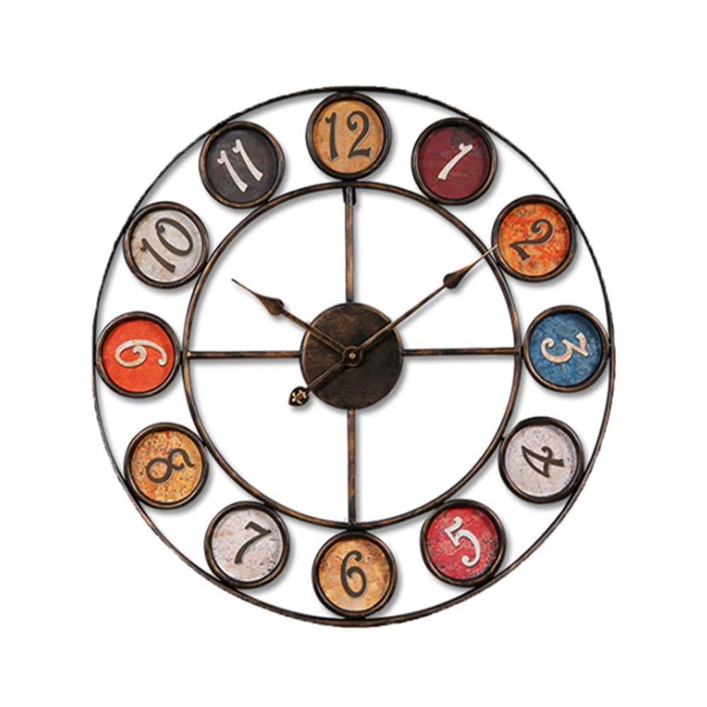 セイコー クロック 掛け時計 レトロなデザインメタルフレームラウンドウォールクロック芸術的な装飾的な電池式クロック秒針アラビア数字サイレント刻々と過ぎる壁アートの装飾リビングルームキッチンバー寝室 電波時計 (色 : マルチカラー, サイズ : 60cm) 60cm マルチカラー B07QTGX6TD
