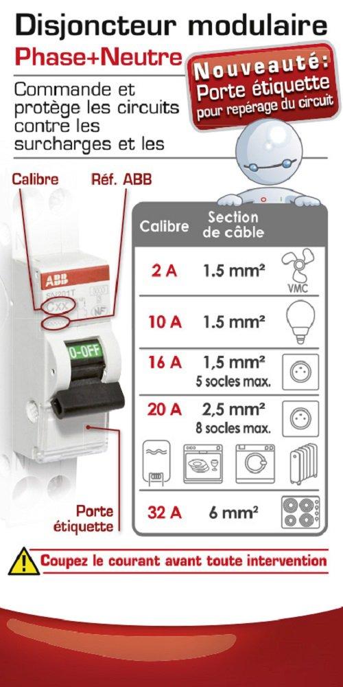 ABB 470089 Disjoncteur modulaire phase plus neutre 20 A