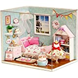 Flever Dollhouse Miniature DIY House Kit Creative Room With Furniture and Cover for Romantic Artwork Gift(Happy Little World)