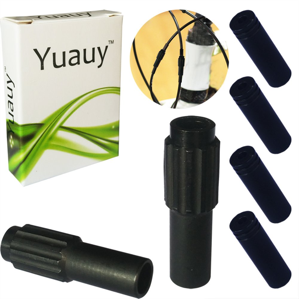 Yuauy 2 PCs Black Mini Inline Bicycle Cable Adjusters w//End Caps