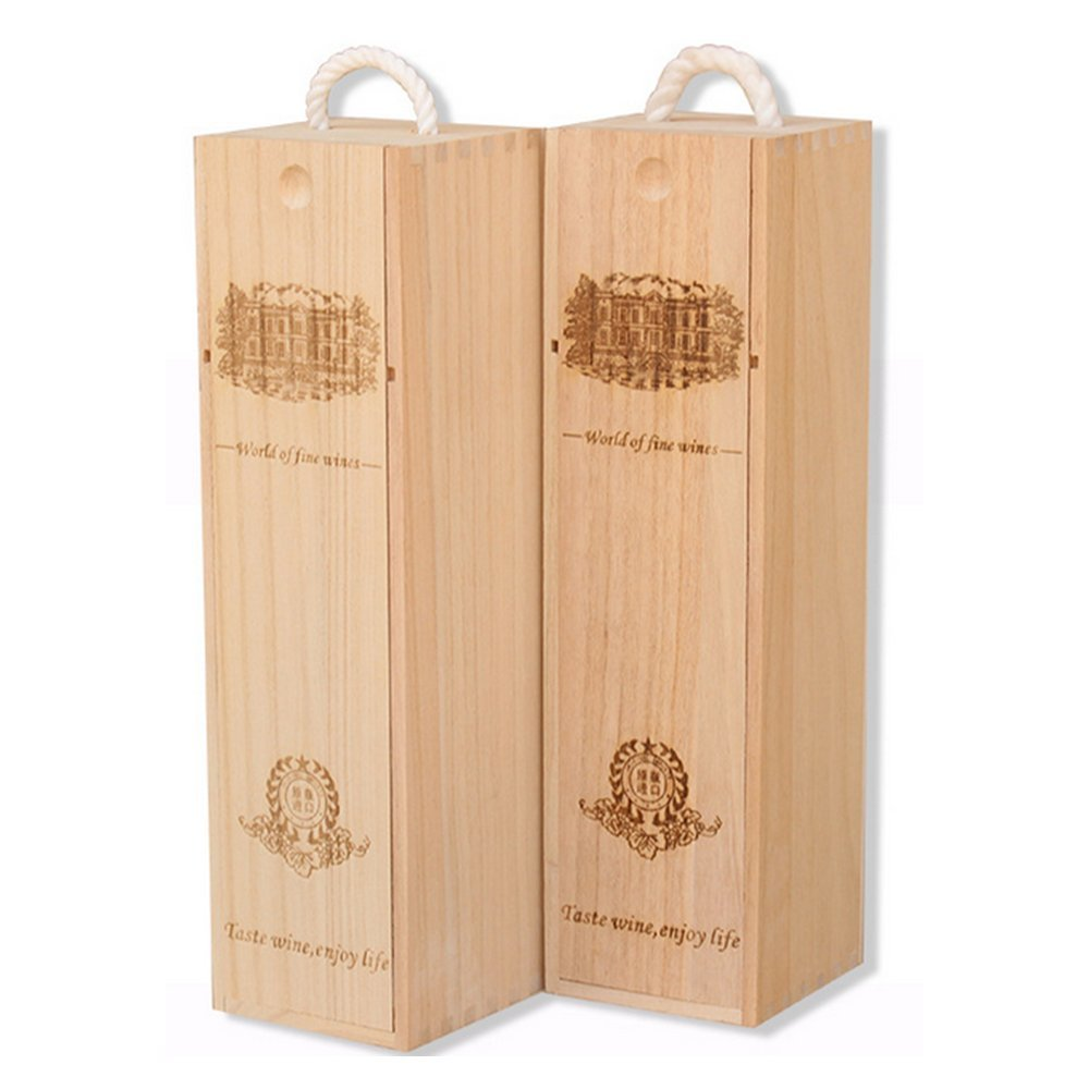 BaiJia Natural Wood Single Bottle Wine Box Carrier Crate Case Best Gift Decor by BaiJia (Image #4)