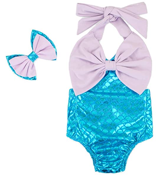 98417240d14e Carkoo Baby Girl s Fish Scale Mermaid Romper Bathing Suits With  Headband(Smal.
