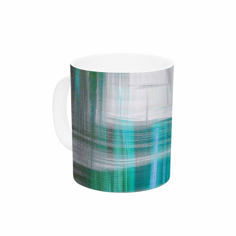 KESS InHouse Ebi EmporiumTartan Crosshatch 3 Multi Teal Teal Black Painting Ceramic Coffee Mug 11oz