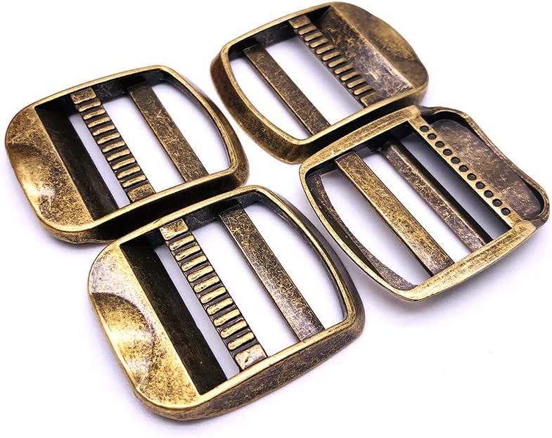 1set 1-14 or 1-12 inch Brushed Gold Flat Metal Purse Slider and Loops 1PC Slide Buckle with 2PCS Rectangular Rings