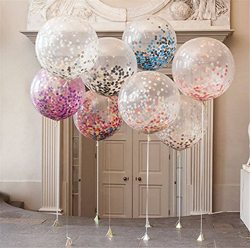 36″ Confetti Balloons Jumbo Latex Balloon Paper Balloons Crepe Paper Filled with Multicolor Confetti for Wedding or Party Decorative (5 Pcs) CVBOSS