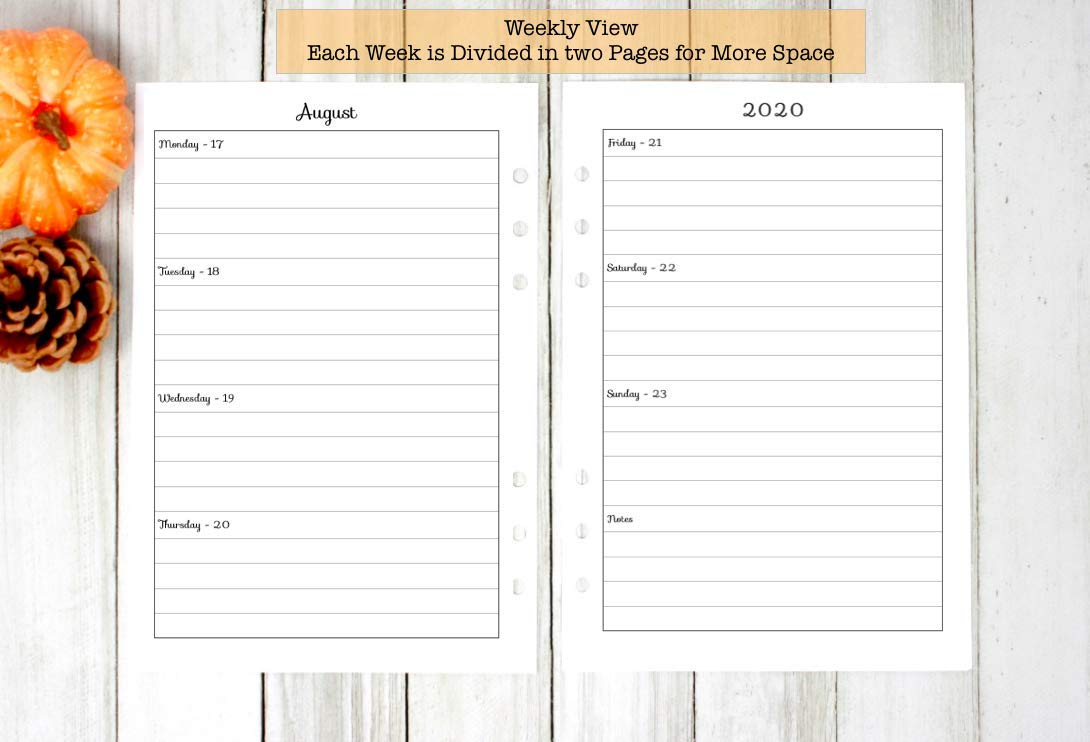 A5 Size Planner 2020 Weekly Calendar Refills with Notes Dividers, A5 Filofax 2020 Refill Pages, A5 Monthly Refills fits with Kate Spade Refill, ...