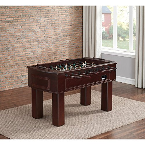 Carlyle Series 390001 Tournament Size and Quality Foosball Table with Two Ball Returns Adjustable Leg Levelers Cup holders with Leather Inserts and 3-Man Goalie System in Espresso Finish