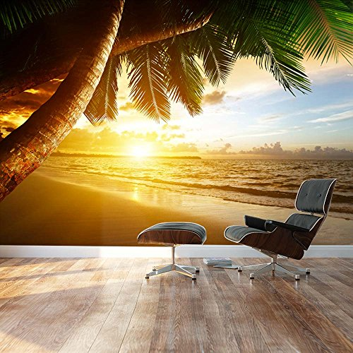 Sunset over palm tree paradise ashore Landscape Wall Mural