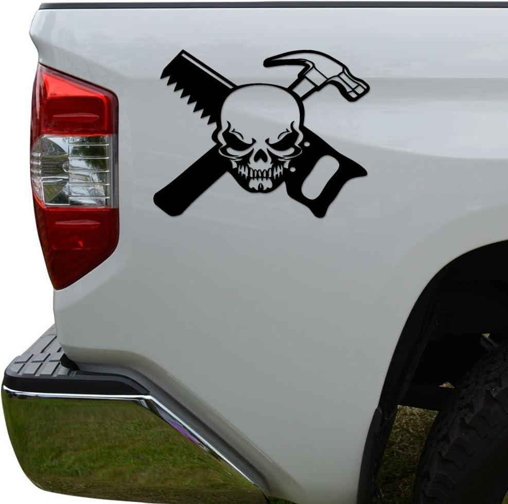 Rosie Decals Carpenter Death Skull Hammer Saw Die Cut Vinyl Decal Sticker for Car Truck Motorcycle Window Bumper Wall Decor Size- [10 inch/25 cm] Wide Color- Matte Black