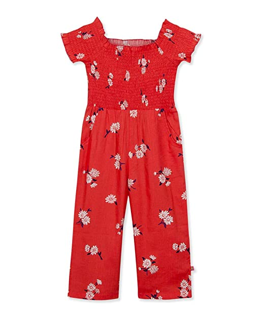 b5f39e4d1 Budding Bees Girls Coral Smocked Floral Jumpsuit: Amazon.in ...