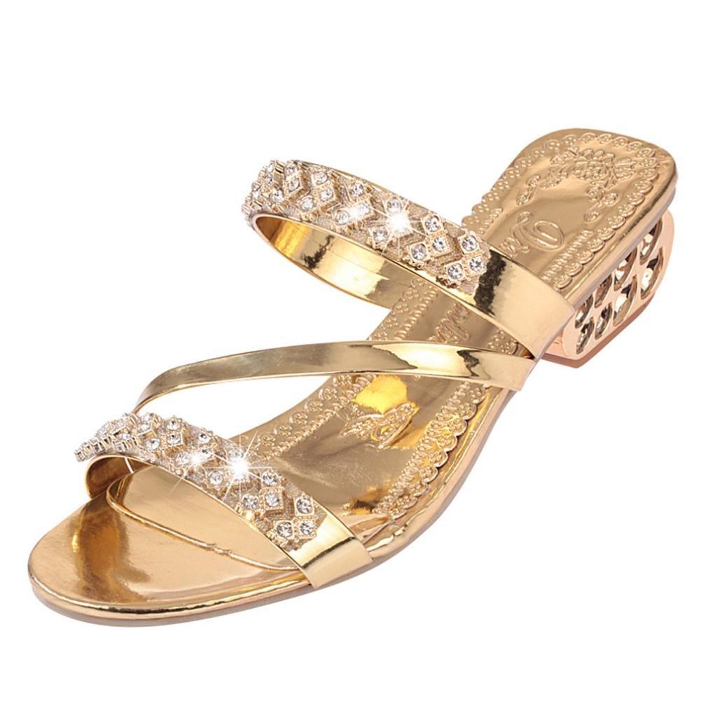 Inverlee Women's Block Low Mid Heel Open Toe Sparkling Glitter Rhinestone Sandal Open Toe Shoes Bohemia Heel Shoe (Gold, 7(US))
