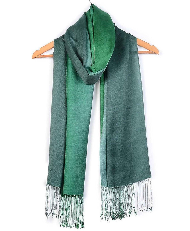 ImliStreet Fashion Stole Ombre Merino Wool Silk Shawl Winter India Long Scarf