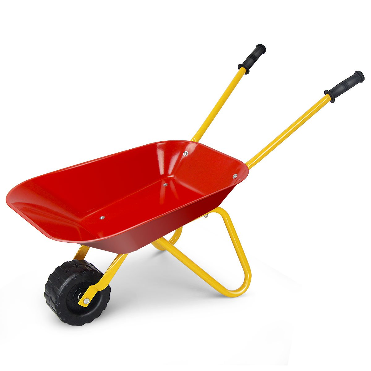 Costzon Kids Metal Wheelbarrow, Yard Rover Steel Tray, Metal Construction Toys Kart, Tote Dirt/Leaves/Tools in Garden for Toddlers, Red by Costzon