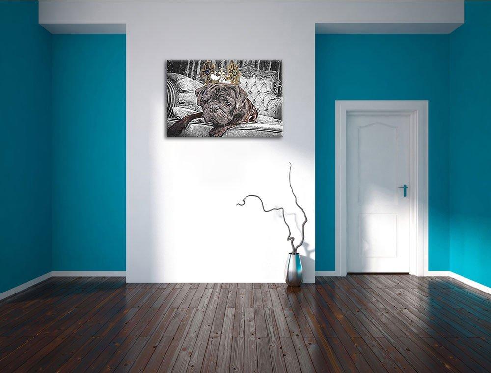 süßer Mops mit Krone Format: 60x40 auf Leinwand, XXL riesige Bilder ...