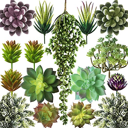 Miltonson Artificial Succulent Plants Fake Assorted - 15 Pack - Unpotted Fake Succulent Plants - Realistic Textured Succulents Picks - Fake Plants for Decoration - Faux Aloe Cactus Plant Bulk (Succulent Faux)