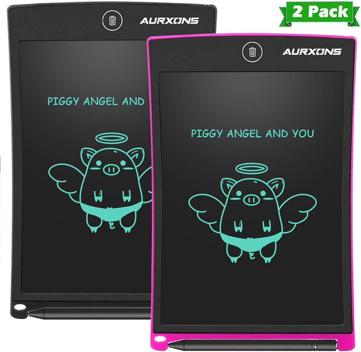 LCD Writing Tablet Electronic Writing Drawing Doodle Board Erasable AURXONS 8.5-Inch Handwriting Paper Drawing Tablet for Kids Adults at Home School Office Black