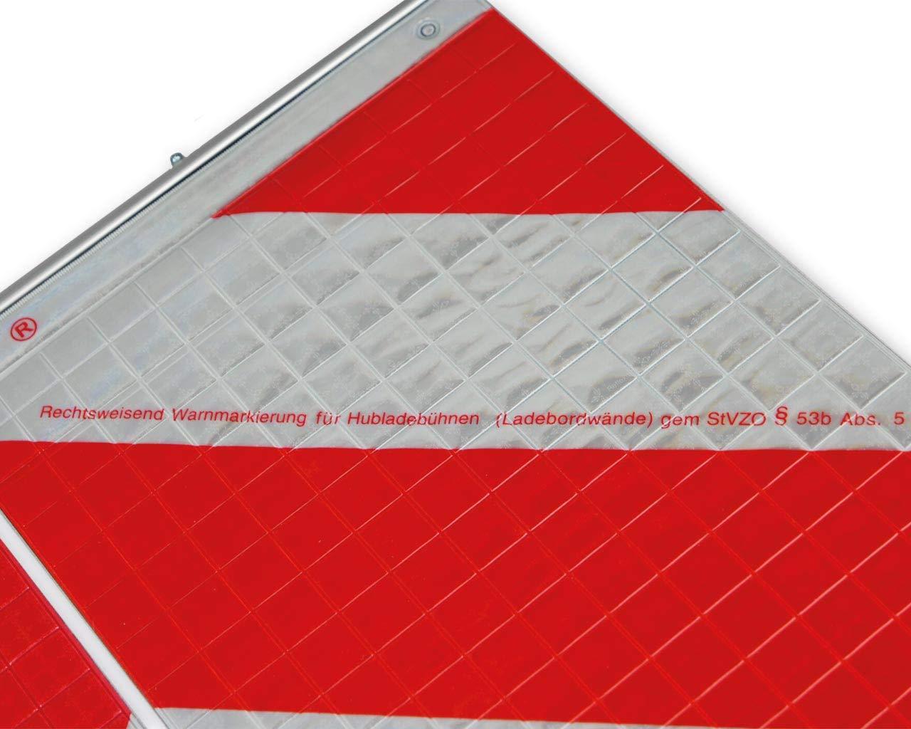 SOY-KFZ 1 Set Warnflaggen 430x250mm LKW Ladebordwand inkl Aluleisten