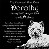 Personalized West Highland White Terrier Westie Dog Pet Memorial 12''x12'' Engraved Black Granite Grave Marker Head Stone Plaque DOR1