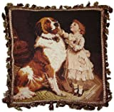 Deluxe Pillows Child and St. Bernard - 18 x 18 in. needlepoint pillow