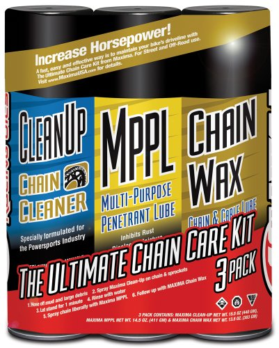 (Maxima 70-749203-3PK Chain Wax Ultimate Chain Care Aerosol Combo Kit, (Pack of)