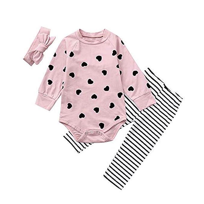 JYC Conjunto de Ropa para Niñas, Conjuntos para Bebes, Bebé Chicas Corazón Impresión Largo Mangas Romper + Pantalones + Venda Conjuntos: Amazon.es: Ropa y ...