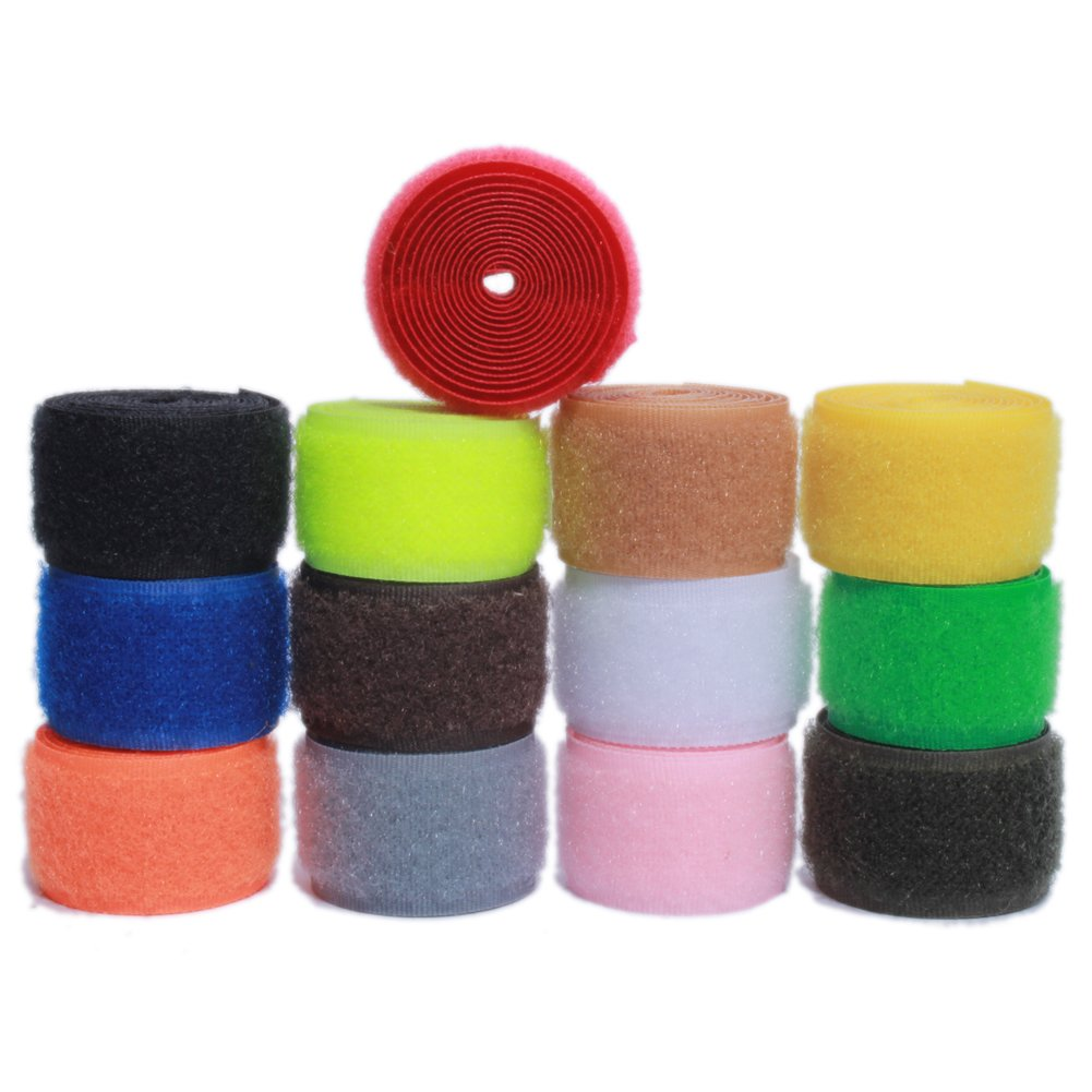 Sew on Hook and Loop Nylon Fabric Magic Fastener Tape by The Yard with Non-Adhesive for DIY Craft Supplies (1 inch Wide, Pack of 13 Colors, 2 Yards of Each Color, 1 Yard Hook + 1 Yard Loop) Lulin