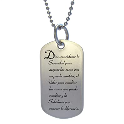 299bfb291242a Spanish Serenity Prayer Stainless Steel Dog Tag Necklace