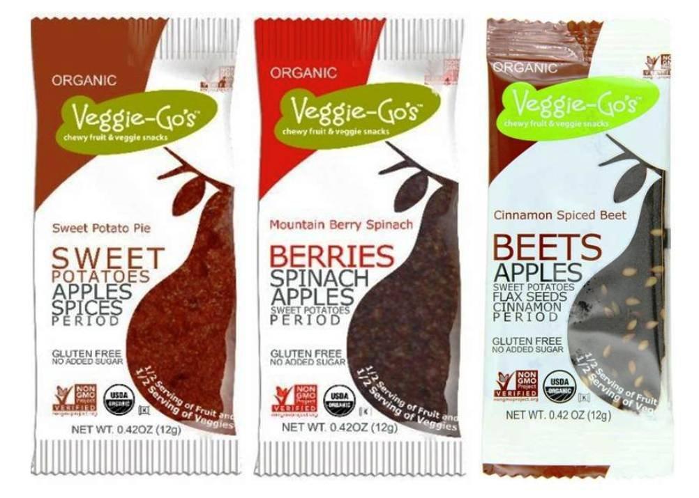 Veggie-Go's Organic Gluten Free Chewy Fruit & Veggie Snacks 3 Flavor 12 Snack Variety Bundle: (4) Veggie-Go's Mountain Berry Spinach, (4) Veggie-Go's Sweet Potato Pie, and (4) Veggie-Go's Cinnamon Spiced Beet, .42 Oz. Ea. (12 Snacks Total)