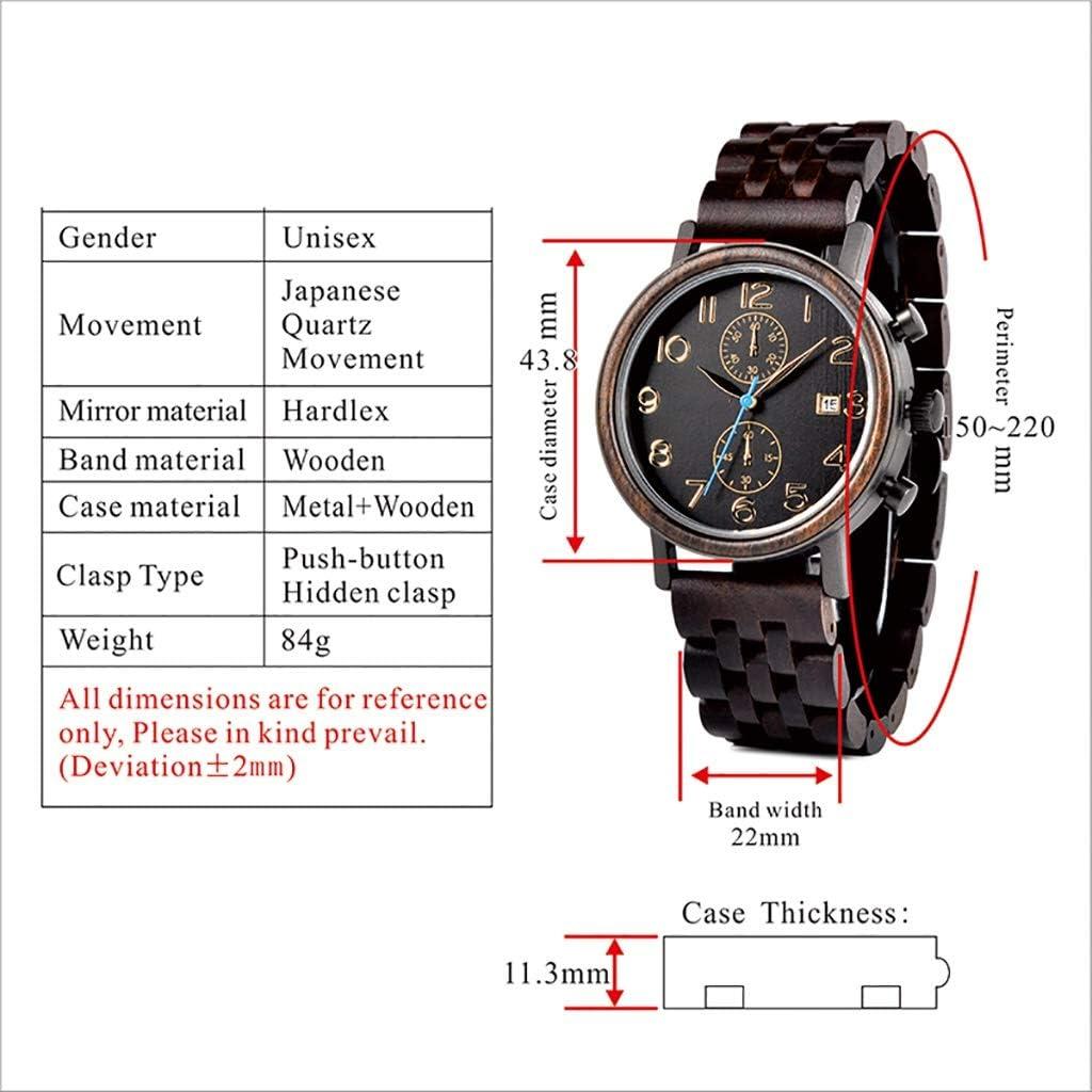 HJG Genuine Calendario Orologio al Quarzo di Legno di Legno Guarda Solid Uomini Orologi Scatola di Orologio (Color : A) B