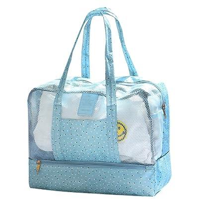 Malla bolsa de playa impermeable, playa Bolsa de la compra Camino de arena llevar hombro