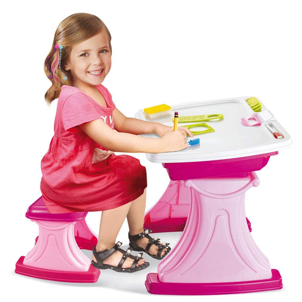 BAKAJI Banco Scuola per Bambini Scrivania Rosa con Sedia Dotato di Piano da Lavoro Ribaltabile e Vano Porta Oggetti Dimensione 38, 5 x 46, 5 x 43 cm