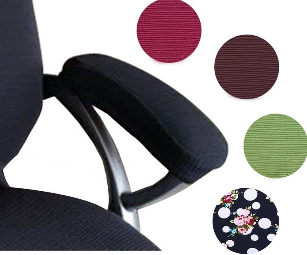 Trycooling 2 Set Polyester Removable Durable Machine Washable Office Chair Armrest Slipcovers Covers Pads (Length-30cm) (Black)