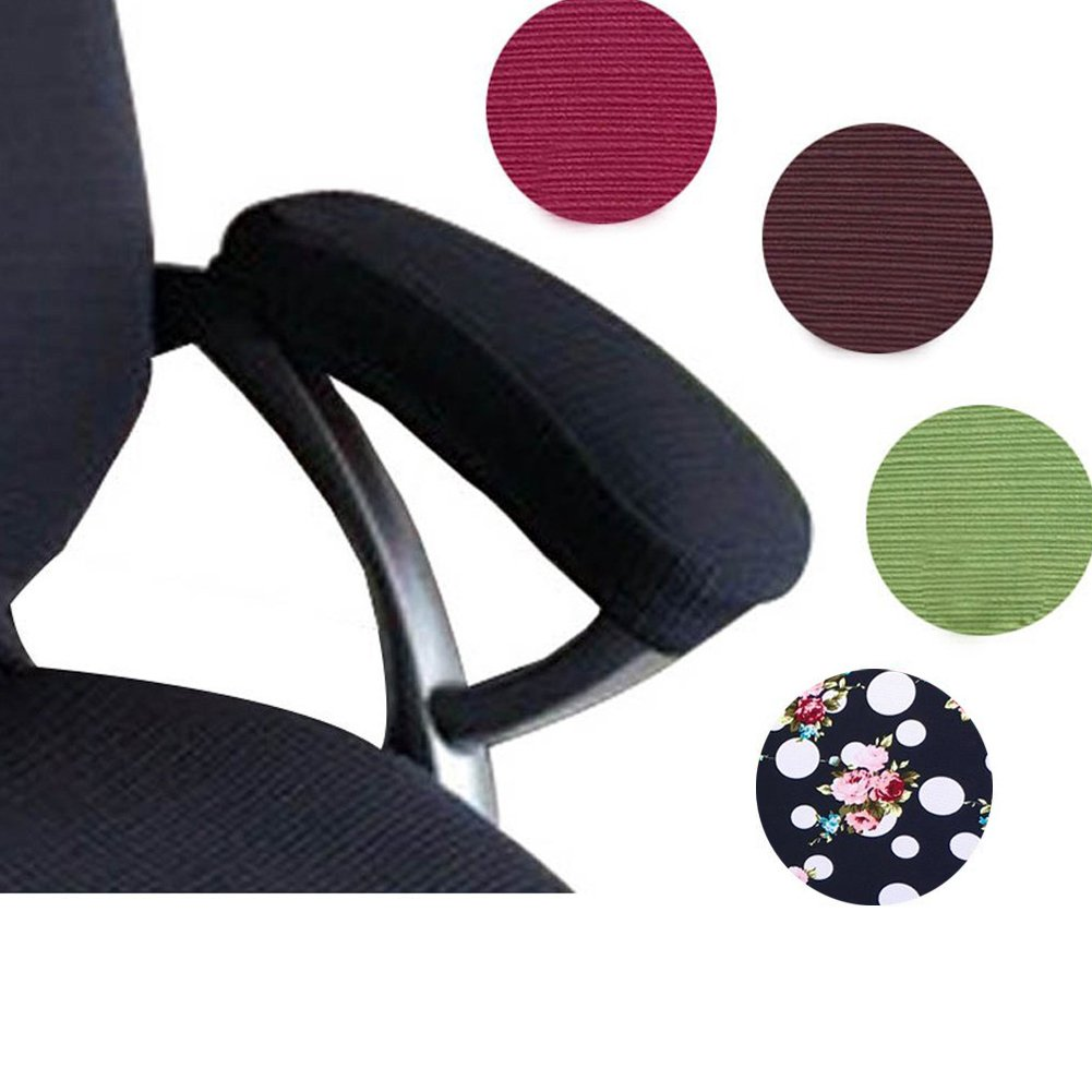 Trycooling 2 Set Polyester Removable Durable Machine Washable Office Chair Armrest Slipcovers Covers Pads (Length-30cm) (Flower)