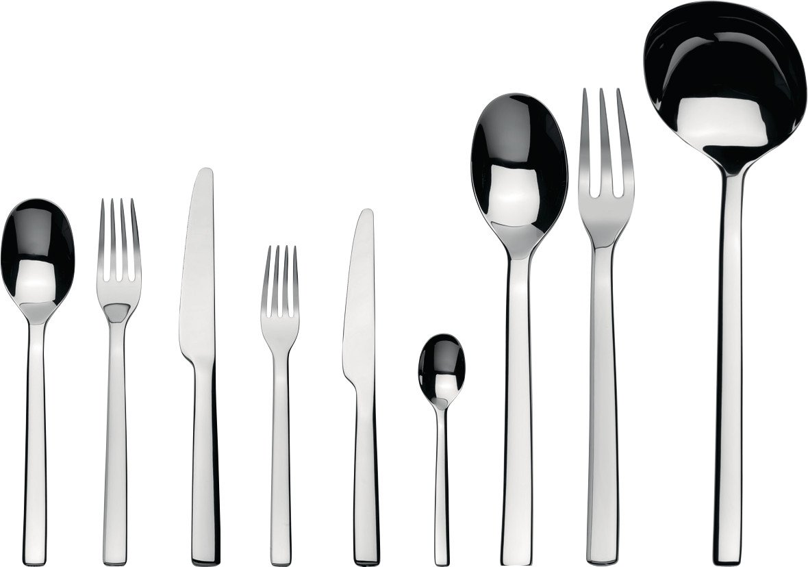 Alessi ''Ovale'' Flatware Set Of Twelve Table Spoons, Table Forks, Table Knives, Dessert Forks, Dessert Knives, Coffee Spoons and one Ladle, Serving Spoon and Fork in 18/10 Stainless Steel, Silver