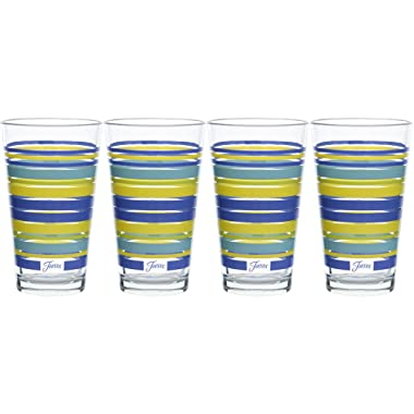 Fiesta Lapis Stripe 16-Ounce Tapered Cooler Glass (Set of 4)