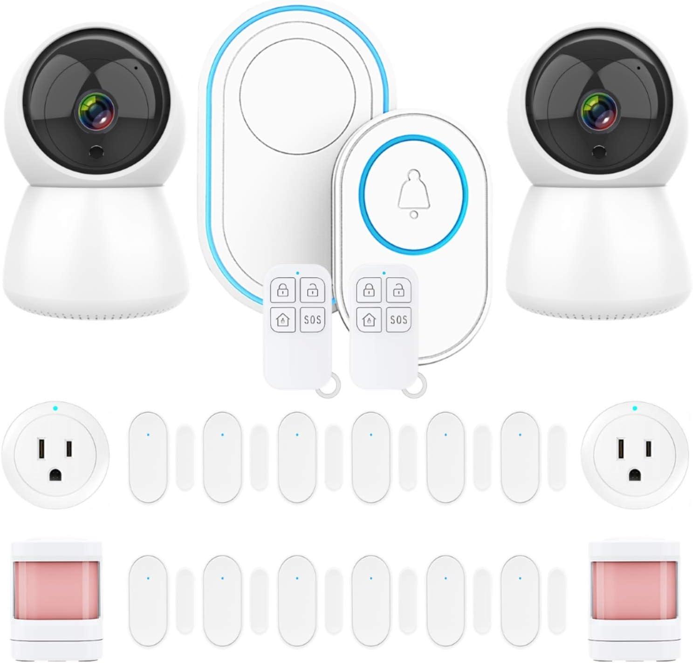 Smart WiFi Alarm System - Wireless Home Security Kit with Cameras, Motion Detectors, Door Window Sensors, Remotes, Smart Plugs, Doorbell, Smartphone - Alexa - Google Control.