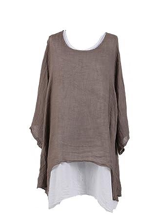 3d412288159 LushStyleUK New Ladies Italian 2 Layered Linen Tunic Top Women Lagenlook  Top Plus Sizes (Mocha)  Amazon.co.uk  Clothing