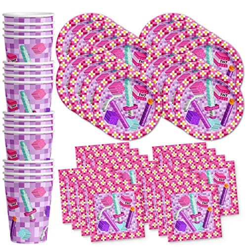 Girl Pixel Mining Birthday Party Supplies Set Plates Napkins Cups Tableware Kit for 16 (Mining Party Supplies)