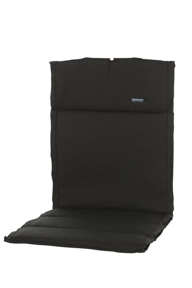 6 Stück MADISON Dessin Rib Sitzpolster, Sitzauflage für Stapelstuhl, Stapelsessel niedrig, Niedriglehner 100% Polyester, 100 x 50 x 4 cm, in schwarz
