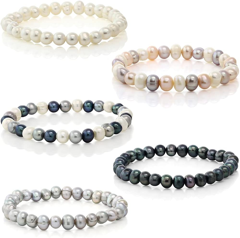 Splendid Pearls Set of 5 Genuine Freshwater Cultured 7mm Multicolored Pearl Stretch Bracelets 7.5""