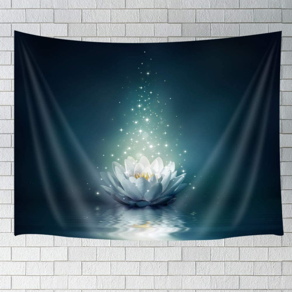JAWO Fantasy Water Lily Mystic Tapestry Hippie Wall Hanging, White Lotus Flower Fairy with Stars Design Wall Tapestries Blanket for Bedroom Living Room Dorm Wall Decor 60X40 Inches