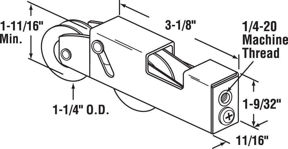 Milgard 1-1//4 in Nylon Ball Bearing Sliding Door Tandem Roller Assembly
