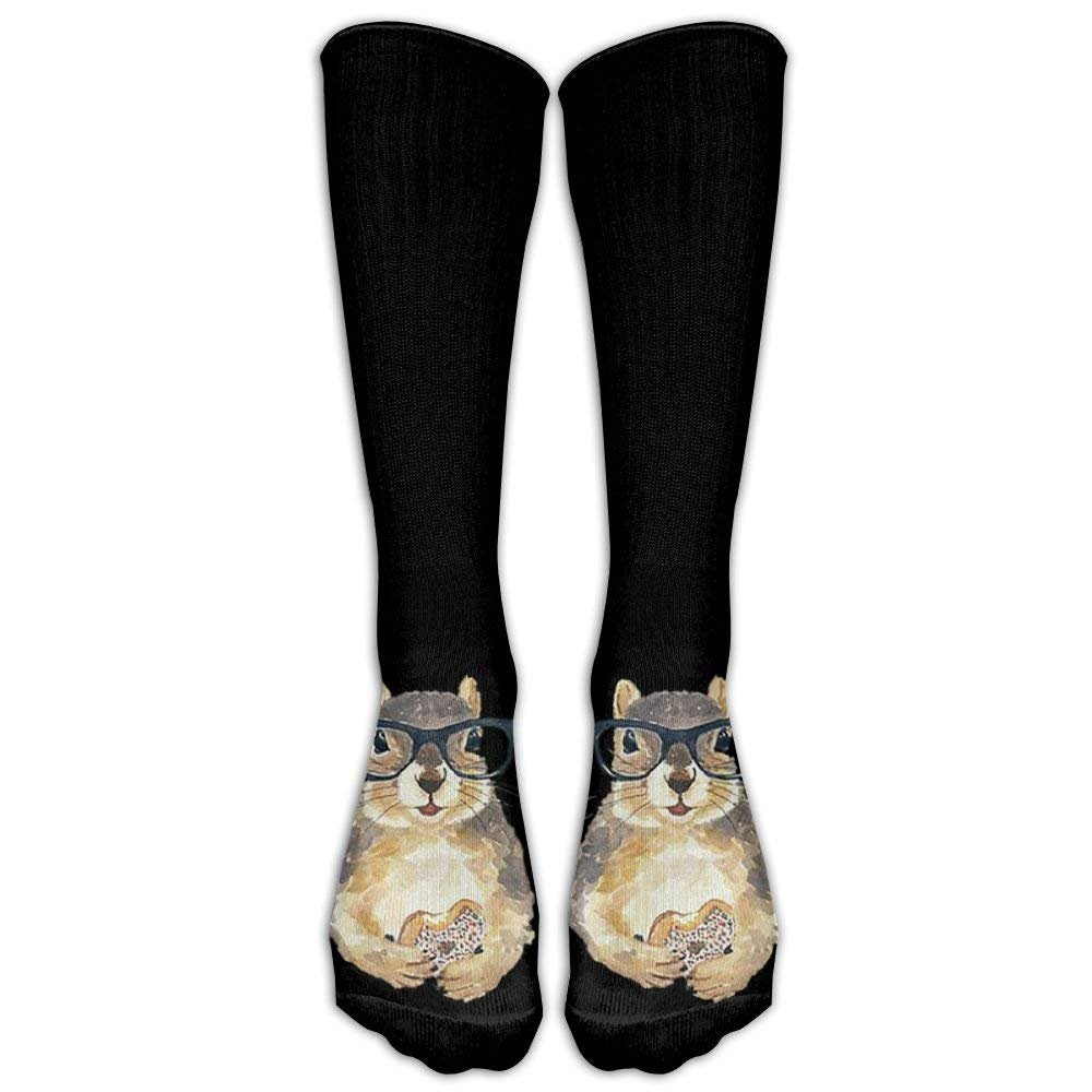 Style Unisex Socks Casual Knee High Stockings Nerdy Squirrel With Glass Cotton Socks One Size