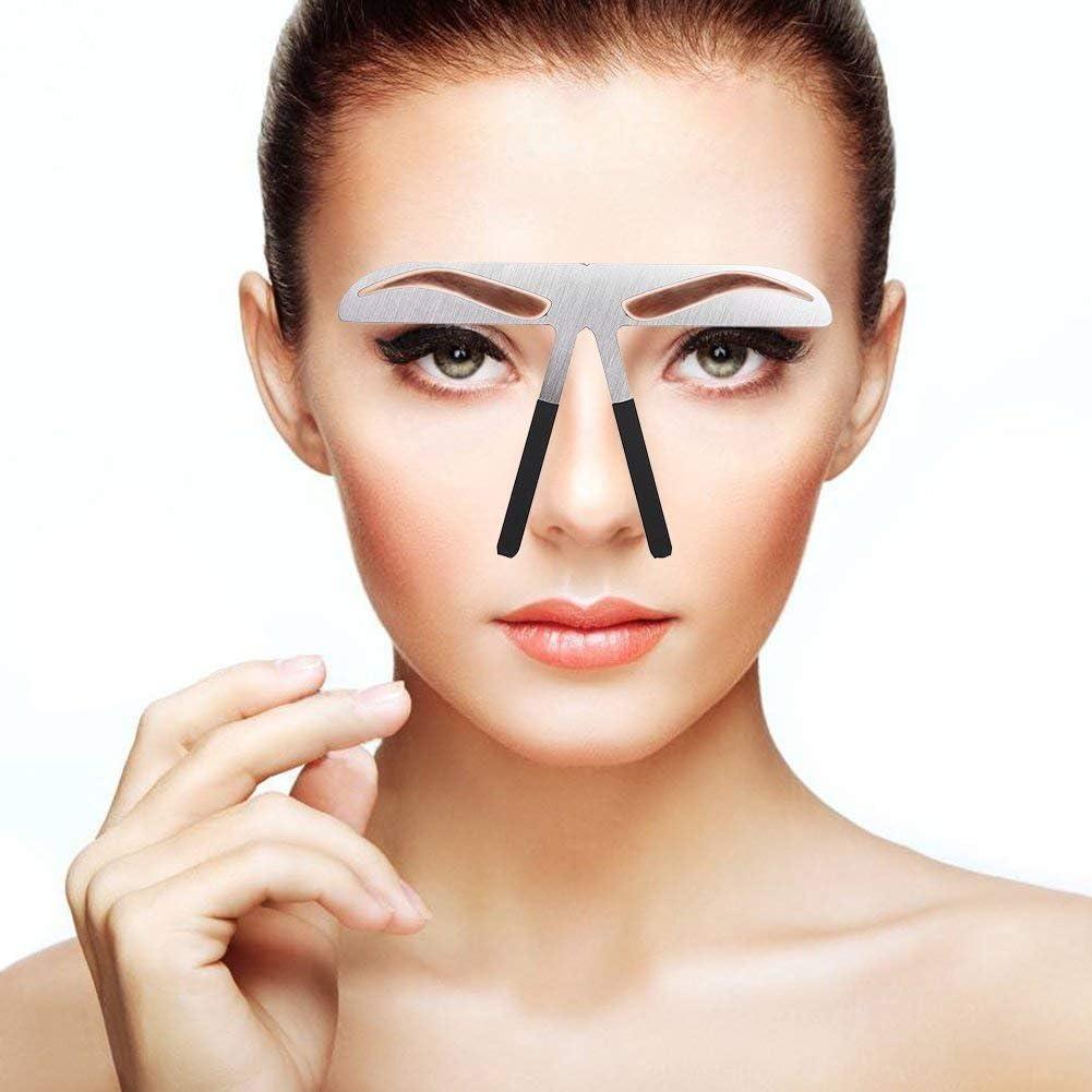 Modelos de cejas Plantilla de bricolaje, Stainess Ceja de acero Regla de medición Tatuaje Microblading Maquillaje permanente Herramienta de ...