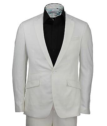 Para hombre lino blanco Blazer un botón para pantalones ...