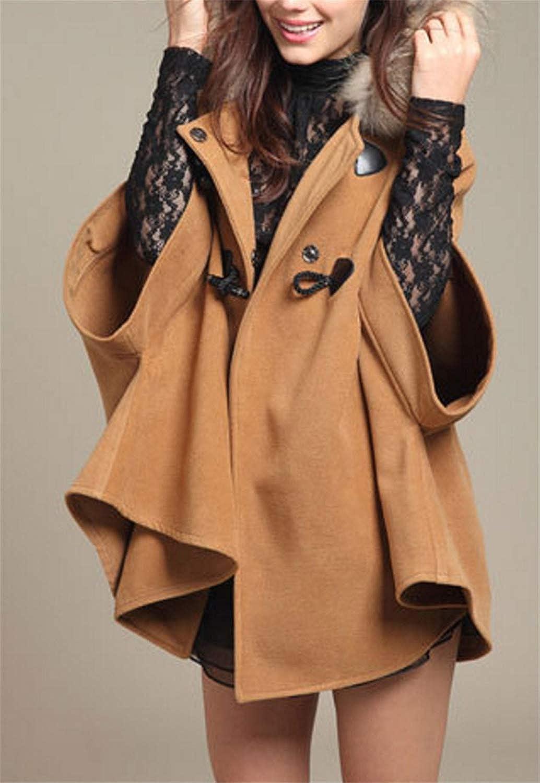 BoBo-88 Poncho Donna Autunno Invernali Stola Fashion Eleganti Vintage Incappucciato Baggy Especial Estilo con Cravatta A Farfalla Calda Cappotto Capa Giacca Kahki