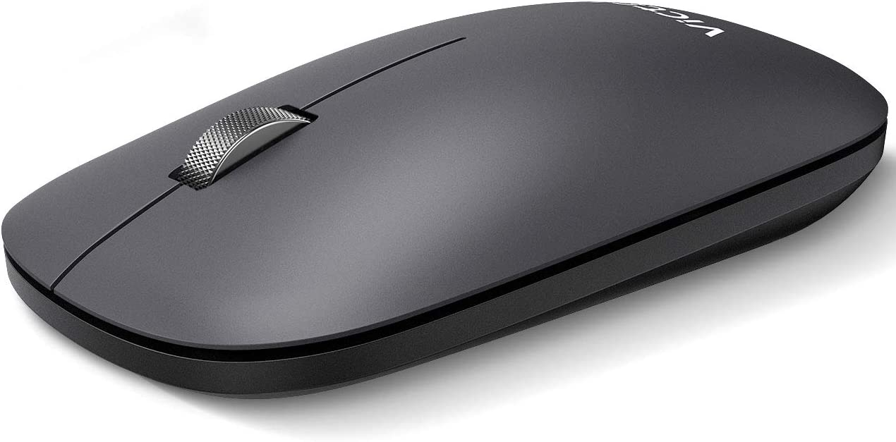 VicTsing Wireless Bluetooth Mouse, Dual Mode- Support 2 Device, Silent Click & Metal Scroll Wheel & 5 Levels DPI, Ultra Slim Portable Optical Mouse for Laptop Notebook PC Computer Android Windows