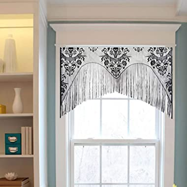 Outgeek Halloween Window Curtain, Lace Skull Curtain Bat Curtain Valance with Tassel 38  x 40