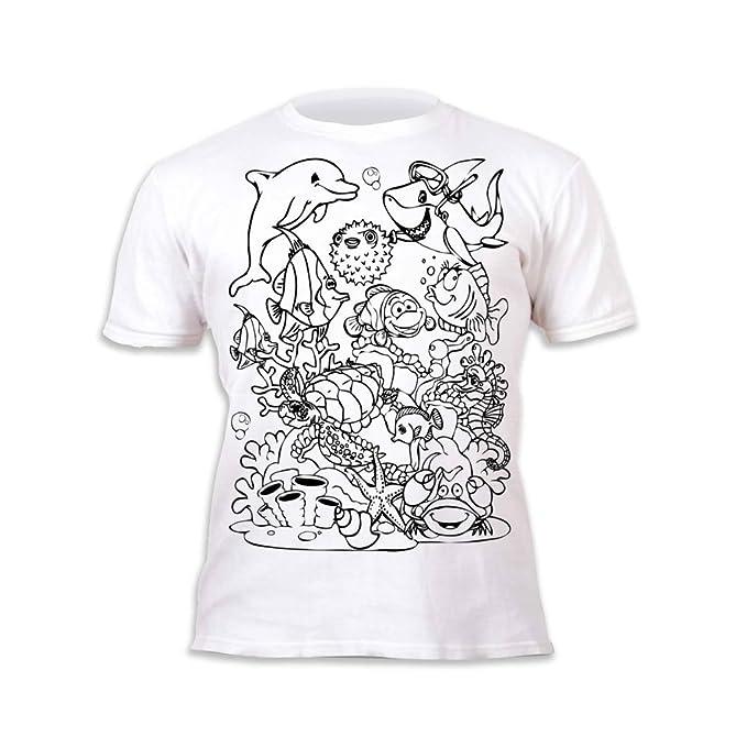 Splat Planet Camiseta Sea Life deifín para niños y niñas. con impresión para Pintar y Colorear. Incluye 6 Colores mágicos Lavables. Cumpleaños ...
